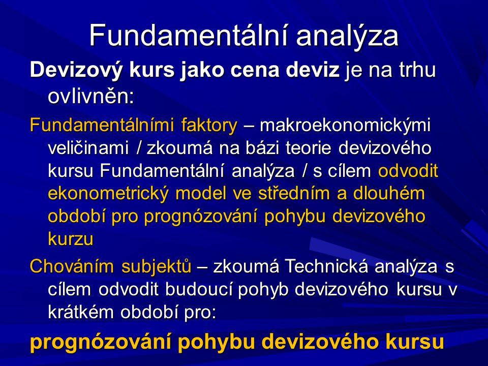 Fundamentální analýza Devizový kurs jako cena deviz je na trhu ovlivněn: Fundamentálními faktory – makroekonomickými veličinami / zkoumá na bázi teori
