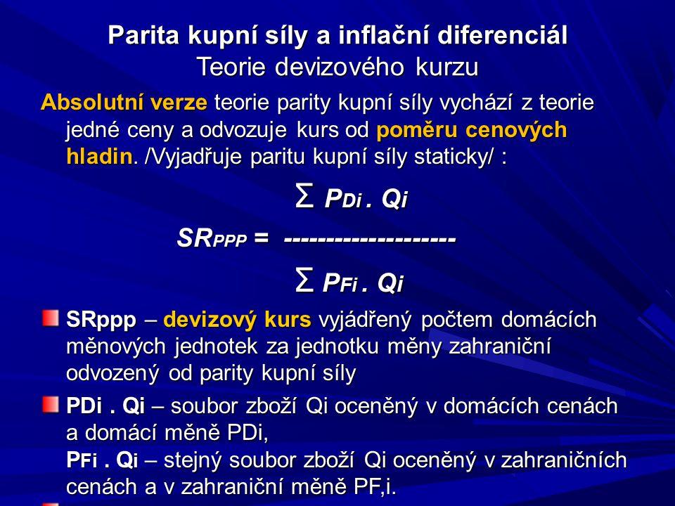 Parita kupní síly a inflační diferenciál Teorie devizového kurzu Absolutní verze teorie parity kupní síly vychází z teorie jedné ceny a odvozuje kurs