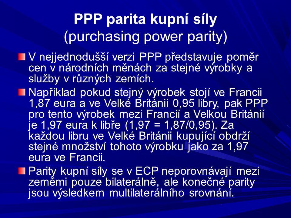 PPP parita kupní síly (purchasing power parity) V nejjednodušší verzi PPP představuje poměr cen v národních měnách za stejné výrobky a služby v různýc