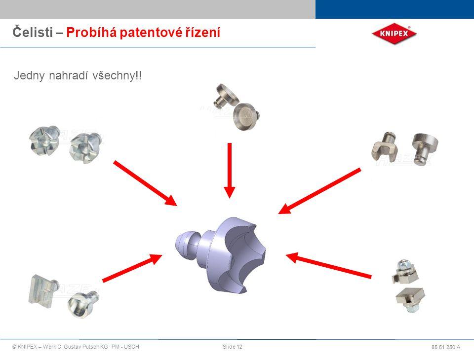 85 51 250 A © KNIPEX – Werk C. Gustav Putsch KG · PM - USCHSlide 12 Čelisti – Probíhá patentové řízení Jedny nahradí všechny!!