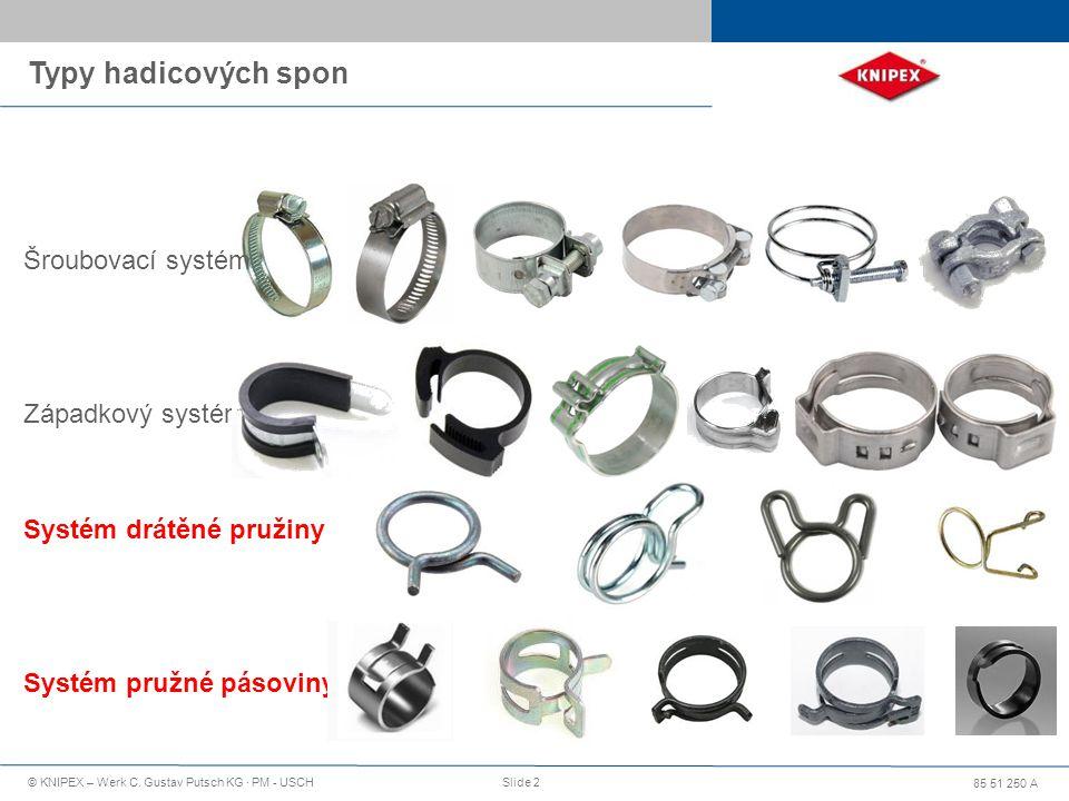 85 51 250 A © KNIPEX – Werk C. Gustav Putsch KG · PM - USCHSlide 2 Typy hadicových spon Šroubovací systém Západkový systém Systém drátěné pružiny Syst