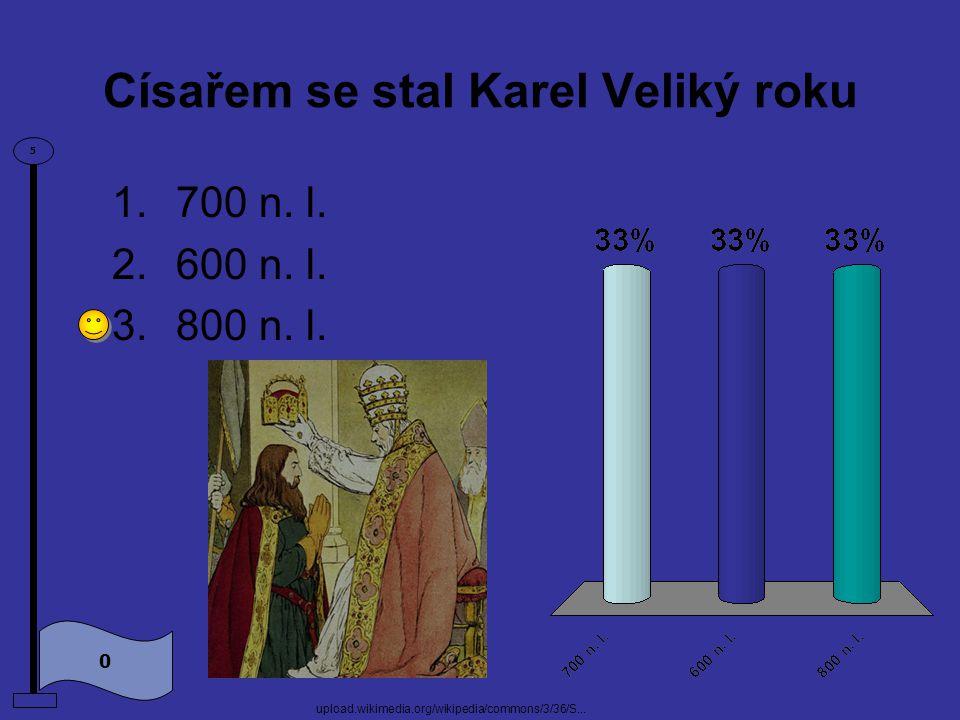 Nejslavnějším panovníkem z rodu Karlovců byl 0 5 1.Václav Veliký 2.Karel Veliký www.medievalists.net/.../2010/05/charlemagne.jpg