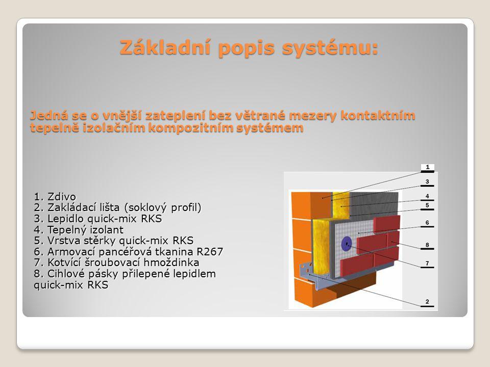 Základní popis systému: Jedná se o vnější zateplení bez větrané mezery kontaktním tepelně izolačním kompozitním systémem 1. Zdivo 2. Zakládací lišta (