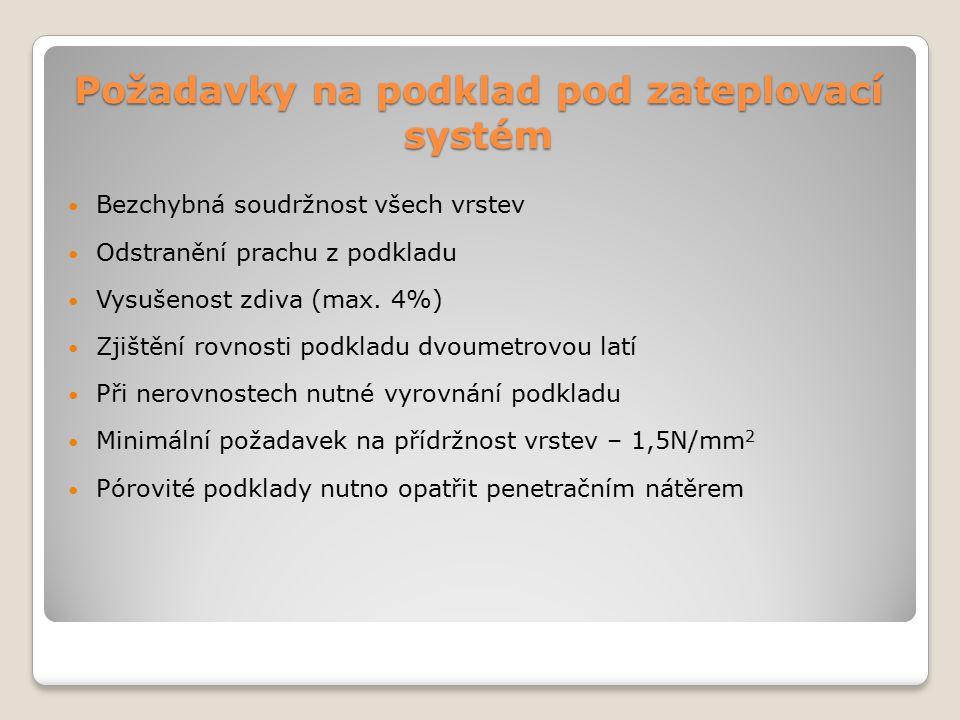 Kontrola provádění zateplovacího systému Založení na hliníkový profil – kontrola vodorovnosti profilů (+- 5mm/2m délky) Spotřeba lepidla 4kg/m 2 Do výšky 0,5m extrudovaný polystyren Spotřeba kotvících prvků – 10ks/m 2
