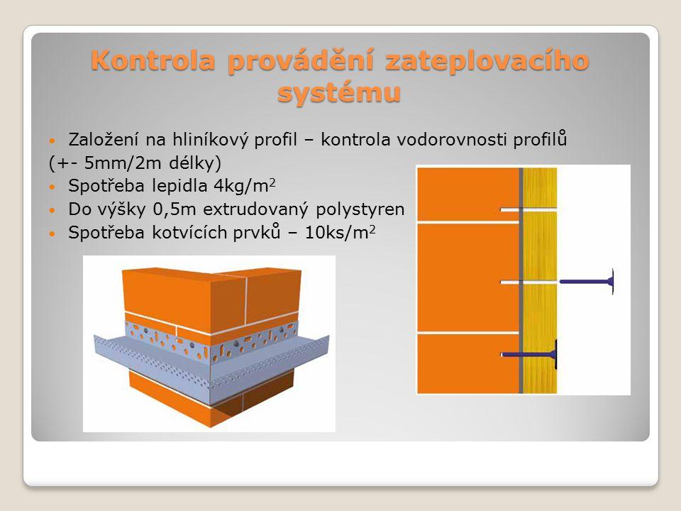 Kontrola provádění zateplovacího systému Založení na hliníkový profil – kontrola vodorovnosti profilů (+- 5mm/2m délky) Spotřeba lepidla 4kg/m 2 Do vý