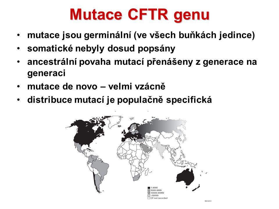 MutaceCFTRgenu Mutace CFTR genu mutace jsou germinální (ve všech buňkách jedince) somatické nebyly dosud popsány ancestrální povaha mutací přenášeny z