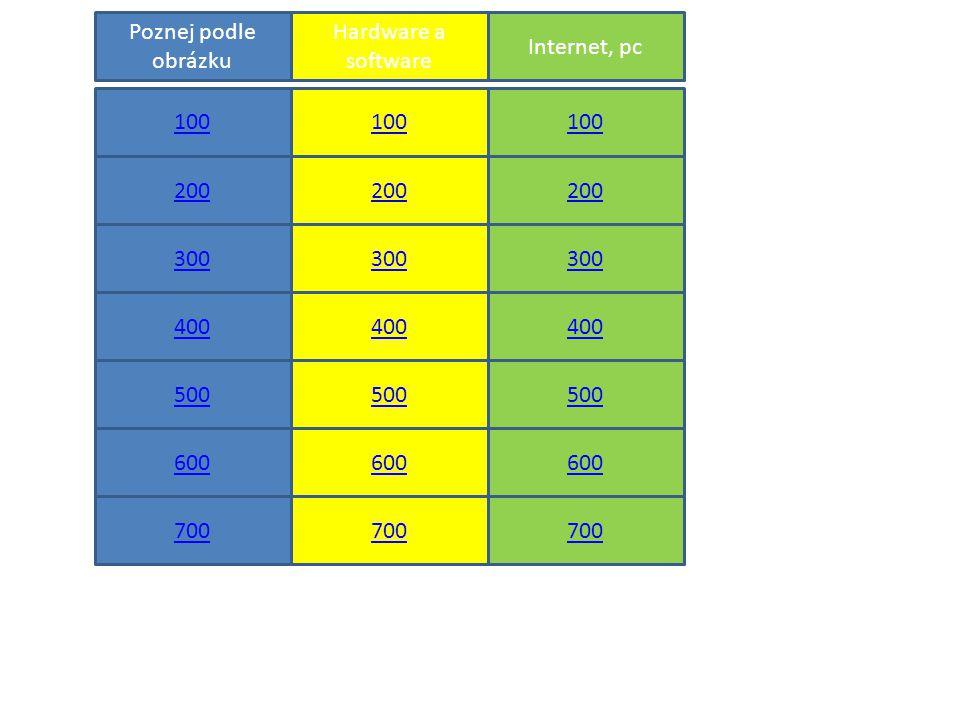 100 200 700 600 700 600 500 400 300 400 300 200 100 500 600 500 400 300 200 100 Poznej podle obrázku Hardware a software Internet, pc