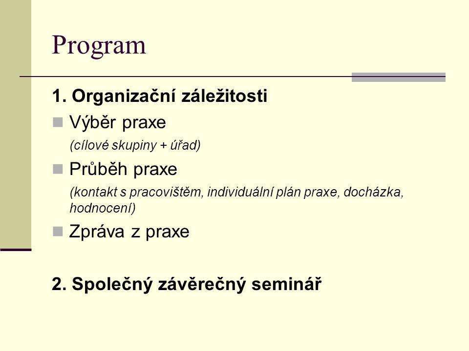 Program 1. Organizační záležitosti Výběr praxe (cílové skupiny + úřad) Průběh praxe (kontakt s pracovištěm, individuální plán praxe, docházka, hodnoce