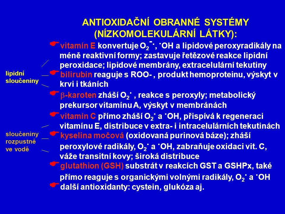 ANTIOXIDAČNÍ OBRANNÉ SYSTÉMY (NÍZKOMOLEKULÁRNÍ LÁTKY):  vitamín E konvertuje O 2 -.,.