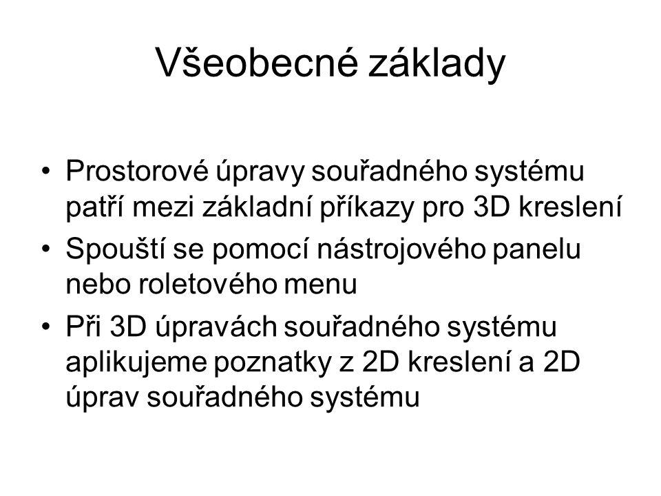 Všeobecné základy Prostorové úpravy souřadného systému patří mezi základní příkazy pro 3D kreslení Spouští se pomocí nástrojového panelu nebo roletové
