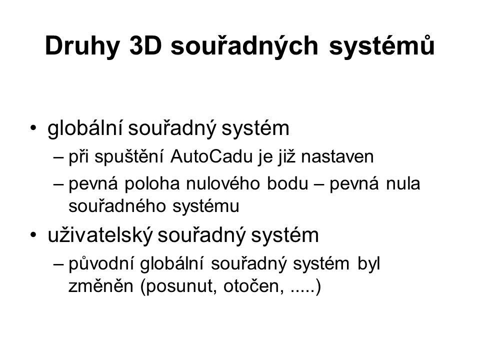 Druhy 3D souřadných systémů globální souřadný systém –při spuštění AutoCadu je již nastaven –pevná poloha nulového bodu – pevná nula souřadného systém