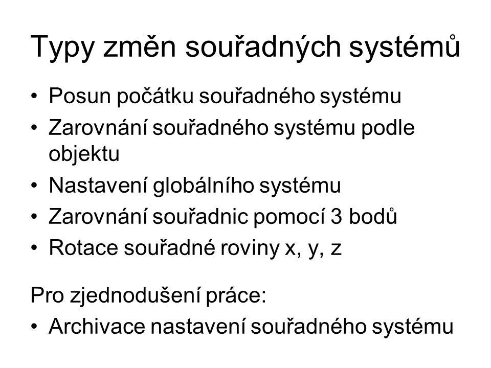 Typy změn souřadných systémů Posun počátku souřadného systému Zarovnání souřadného systému podle objektu Nastavení globálního systému Zarovnání souřad