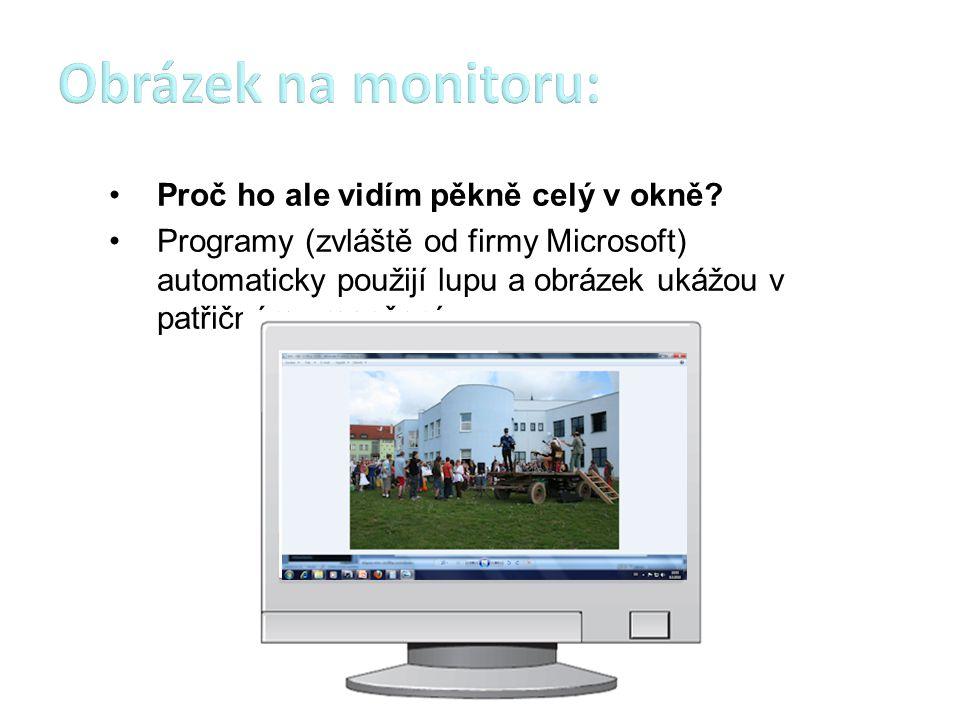 Proč ho ale vidím pěkně celý v okně? Programy (zvláště od firmy Microsoft) automaticky použijí lupu a obrázek ukážou v patřičném zmenšení.