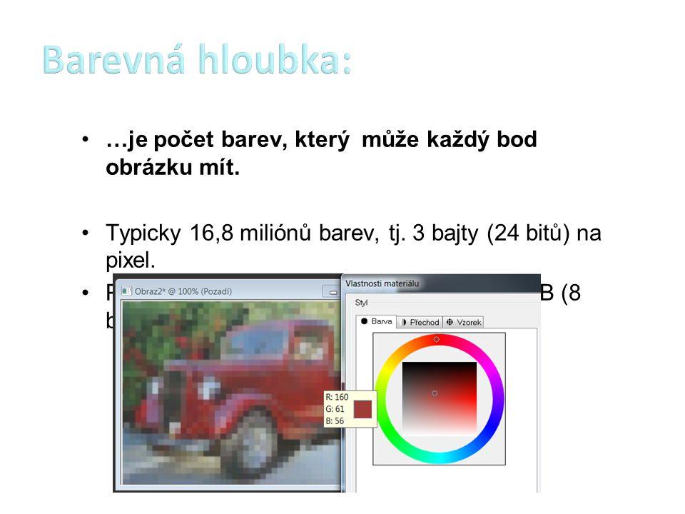 …je počet barev, který může každý bod obrázku mít. Typicky 16,8 miliónů barev, tj. 3 bajty (24 bitů) na pixel. Používá se i 256 barev či stupňů šedi,