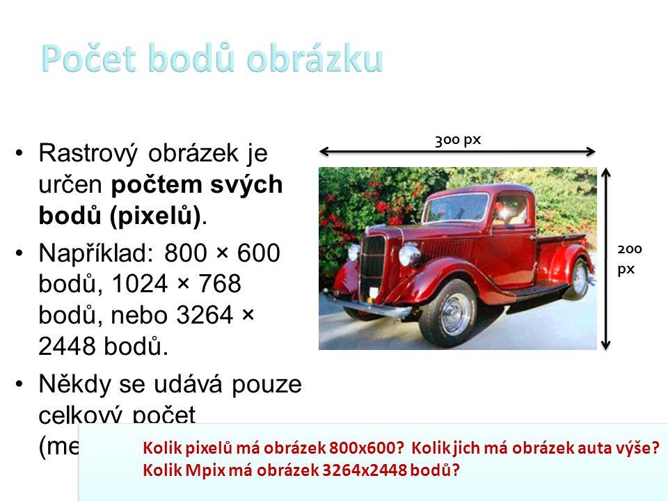 Rastrový obrázek je určen počtem svých bodů (pixelů). Například: 800 × 600 bodů, 1024 × 768 bodů, nebo 3264 × 2448 bodů. Někdy se udává pouze celkový