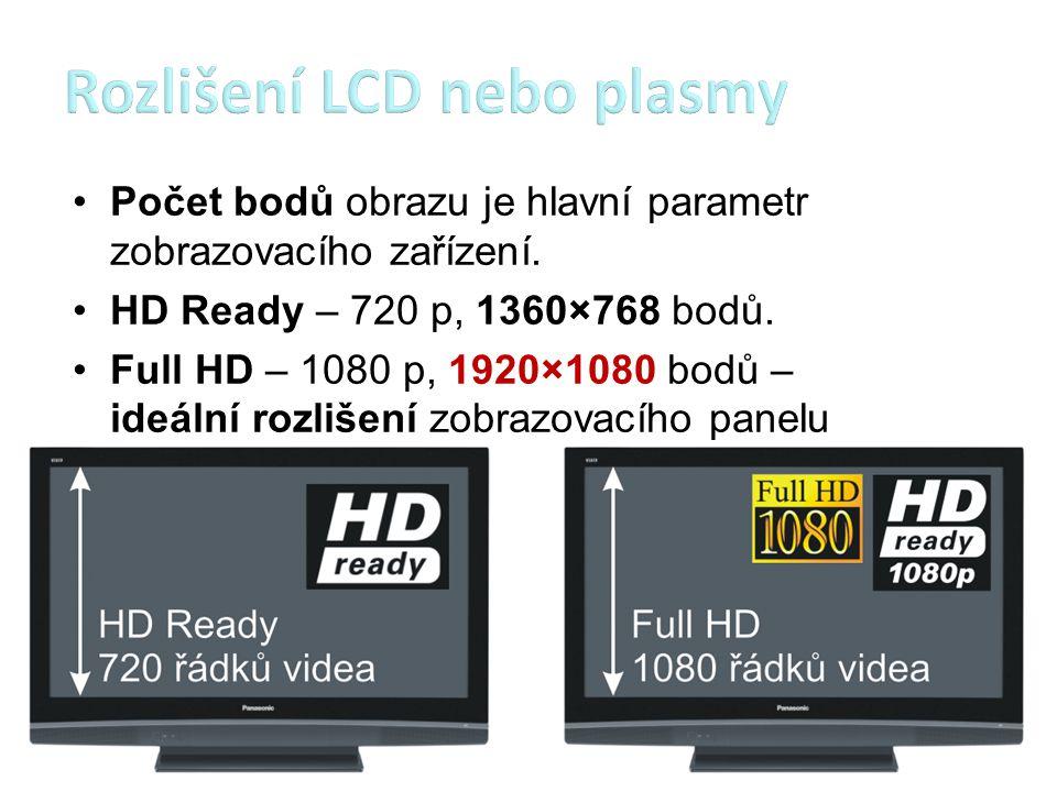 Počet bodů obrazu je hlavní parametr zobrazovacího zařízení. HD Ready – 720 p, 1360×768 bodů. Full HD – 1080 p, 1920×1080 bodů – ideální rozlišení zob