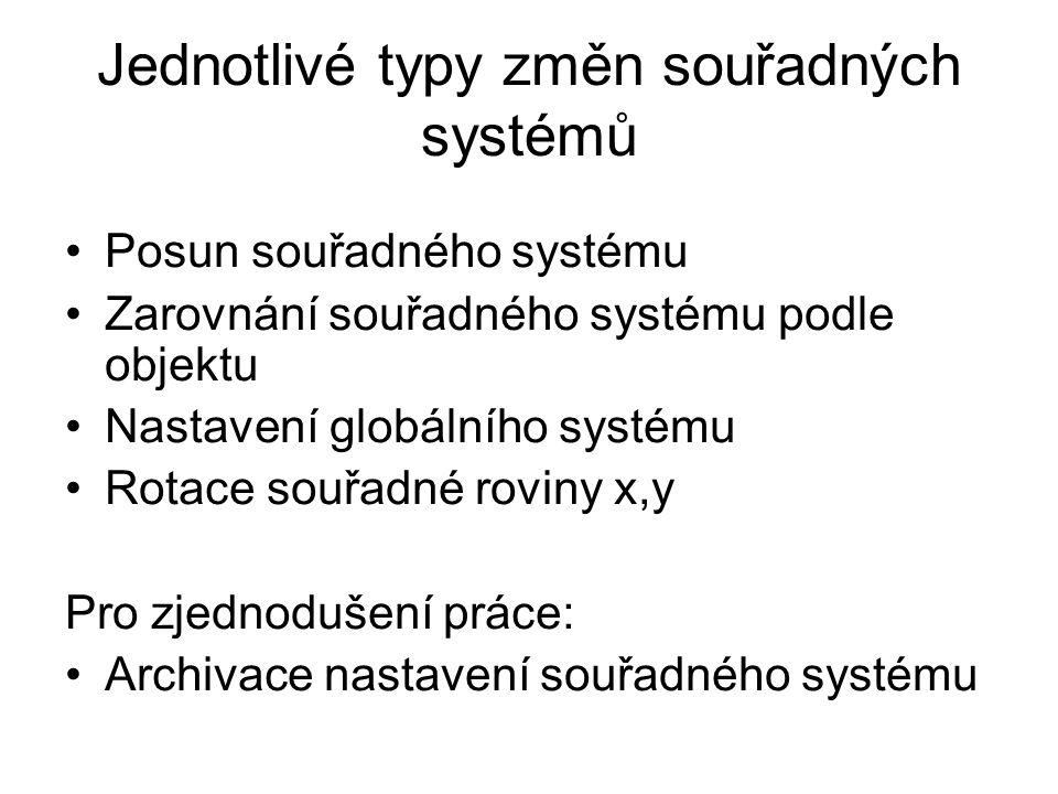 Jednotlivé typy změn souřadných systémů Posun souřadného systému Zarovnání souřadného systému podle objektu Nastavení globálního systému Rotace souřadné roviny x,y Pro zjednodušení práce: Archivace nastavení souřadného systému