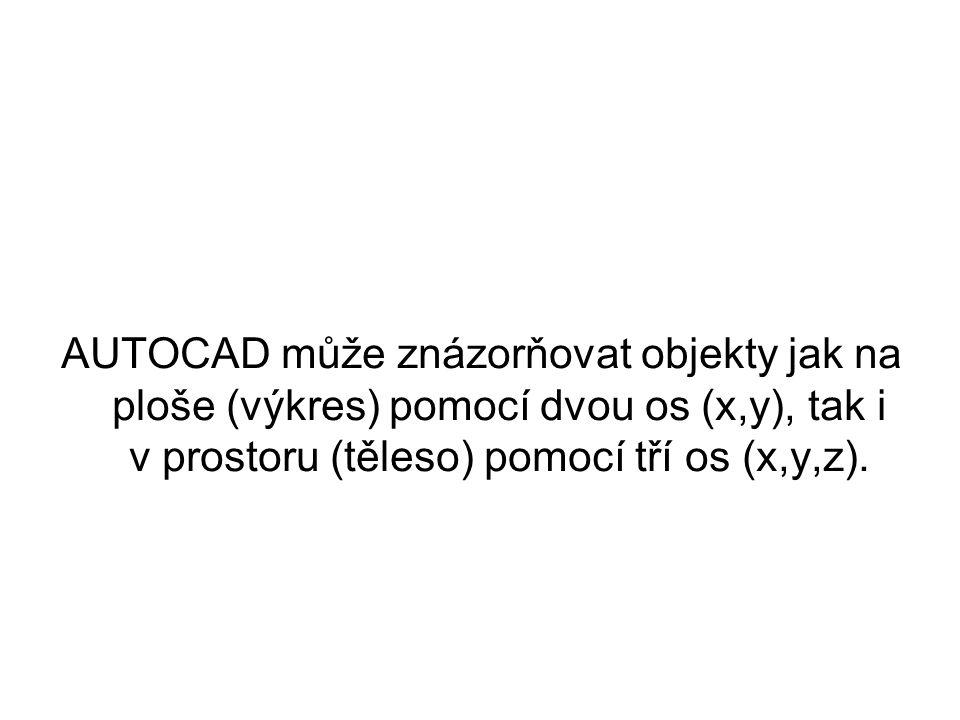 AUTOCAD může znázorňovat objekty jak na ploše (výkres) pomocí dvou os (x,y), tak i v prostoru (těleso) pomocí tří os (x,y,z).