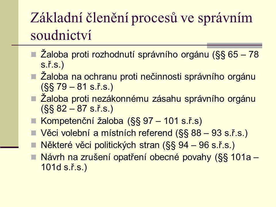 Základní členění procesů ve správním soudnictví Žaloba proti rozhodnutí správního orgánu (§§ 65 – 78 s.ř.s.) Žaloba na ochranu proti nečinnosti správn