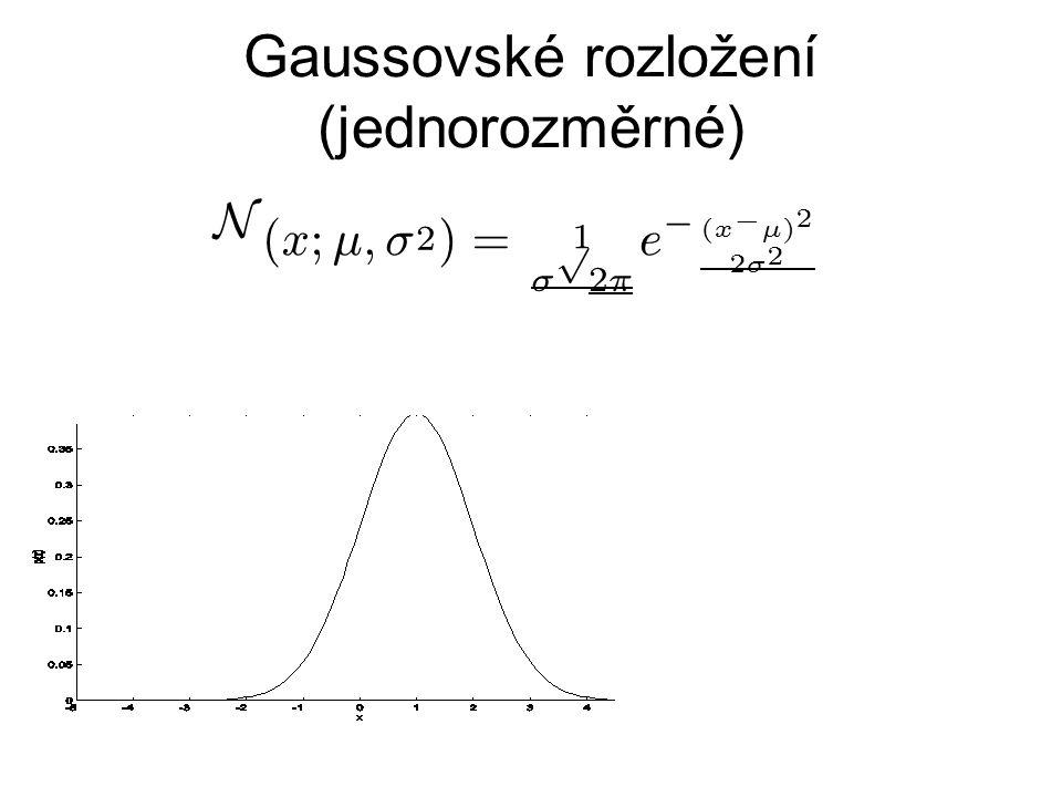 Gaussovské rozložení (jednorozměrné) N ( x;¹ ; ¾ 2 ) = 1 ¾ p 2 ¼ e ¡ ( x ¡ ¹ ) 2 2 ¾ 2