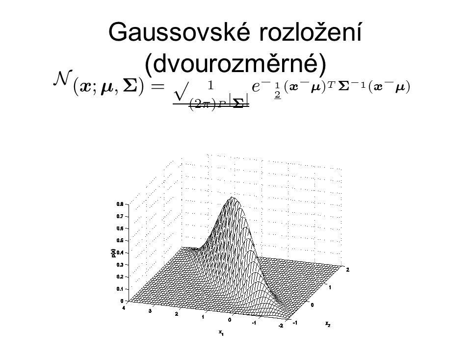 Gaussovské rozložení (dvourozměrné) N ( x ; ¹ ; § ) = 1 p ( 2 ¼ ) P j § j e ¡ 1 2 ( x ¡ ¹ ) T § ¡ 1 ( x ¡ ¹ )