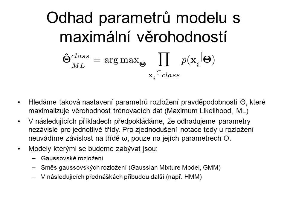 Odhad parametrů modelu s maximální věrohodností Hledáme taková nastavení parametrů rozložení pravděpodobnosti Θ, které maximalizuje věrohodnost trénov