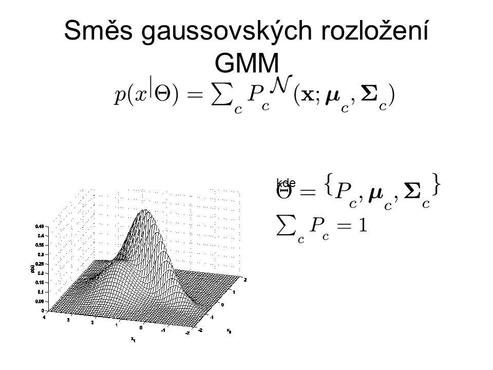 Směs gaussovských rozložení GMM kde P c P c = 1 £ = f P c ; ¹ c ; § c g p ( x j £ ) = P c P c N ( x ; ¹ c ; § c )
