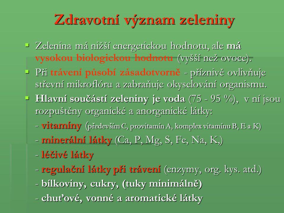 Hlavní skupiny zeleniny – příklady: I.