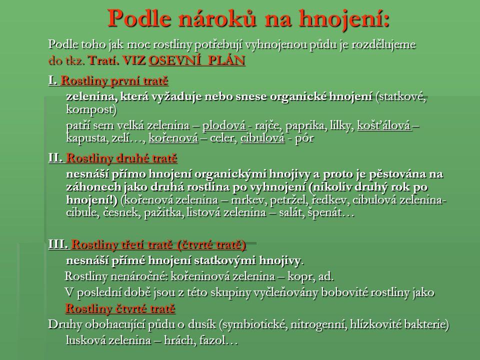 Rozmnožování kulturních rostlin - zeleniny K rozmnožování se používá osivo a sadba.