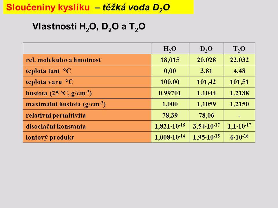Vlastnosti H 2 O, D 2 O a T 2 O H2OH2OD2OD2OT2OT2O rel. molekulová hmotnost18,01520,02822,032 teplota tání °C0,003,814,48 teplota varu °C100,00101,421