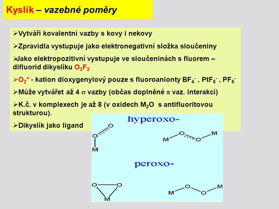 Kyslík - vazebné možnosti kyslíku Typ hybridizace Typ vazbyPříklady iontováK 2 O, BaO sp 3 4σ4σZnO, Al 2 O 3, Be 4 O(CH 3 COO) 6 3σ + 1 vpH 3 O +, [Cu(H 2 O) 4 ] 2+ 2σ + 2 vpH 2 O, Cl 2 O, R 2 O 1σ + 3 vp, event.