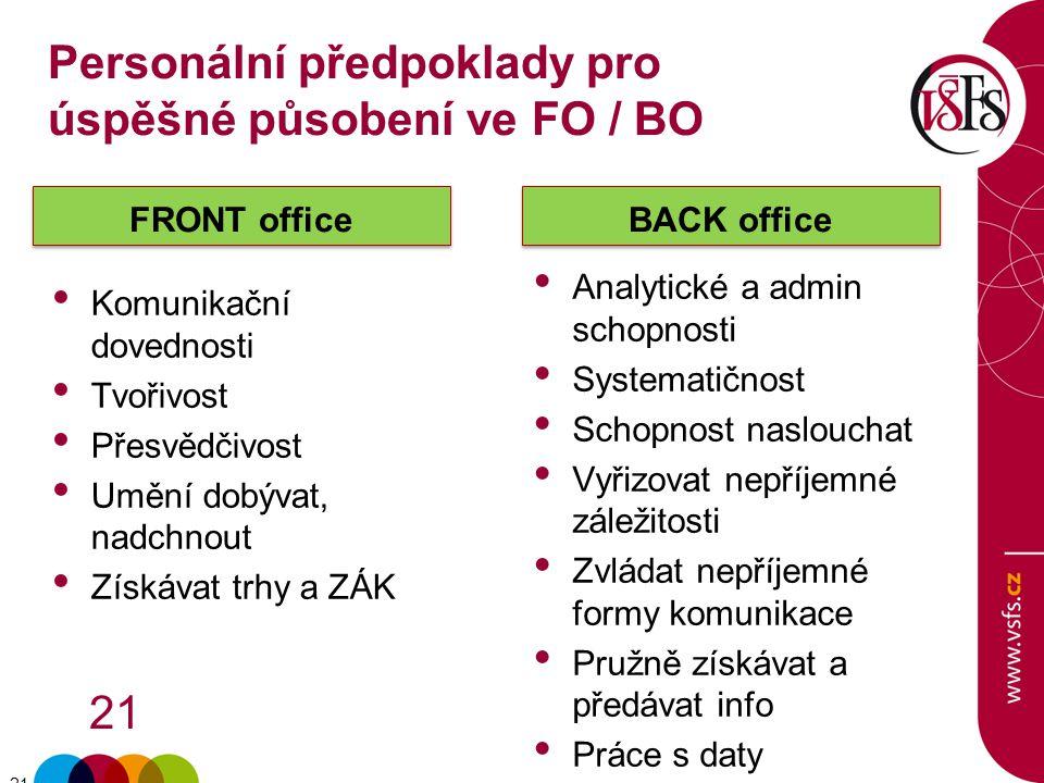 21 FRONT office Komunikační dovednosti Tvořivost Přesvědčivost Umění dobývat, nadchnout Získávat trhy a ZÁK BACK office Analytické a admin schopnosti
