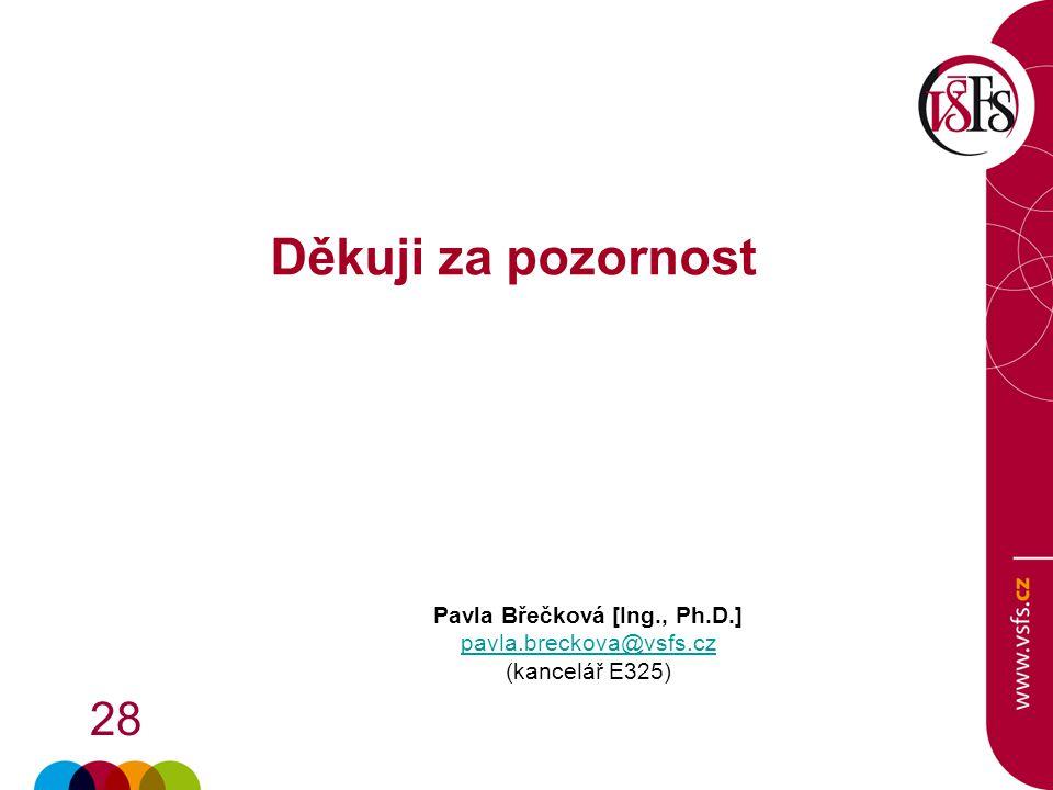 28 Děkuji za pozornost Pavla Břečková [Ing., Ph.D.] pavla.breckova@vsfs.cz (kancelář E325)
