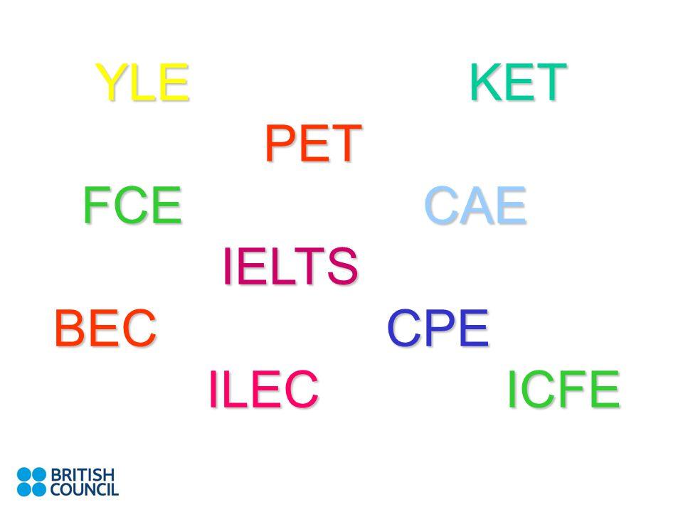 YLE KET PET FCECAE IELTS BEC CPE ILEC ICFE YLE KET PET FCE CAE IELTS BEC CPE ILEC ICFE