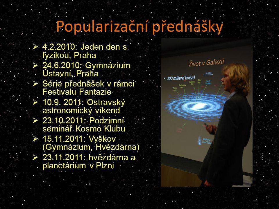 Popularizační přednášky  4.2.2010: Jeden den s fyzikou, Praha  24.6.2010: Gymnázium Ústavní, Praha  Série přednášek v rámci Festivalu Fantazie  10.9.