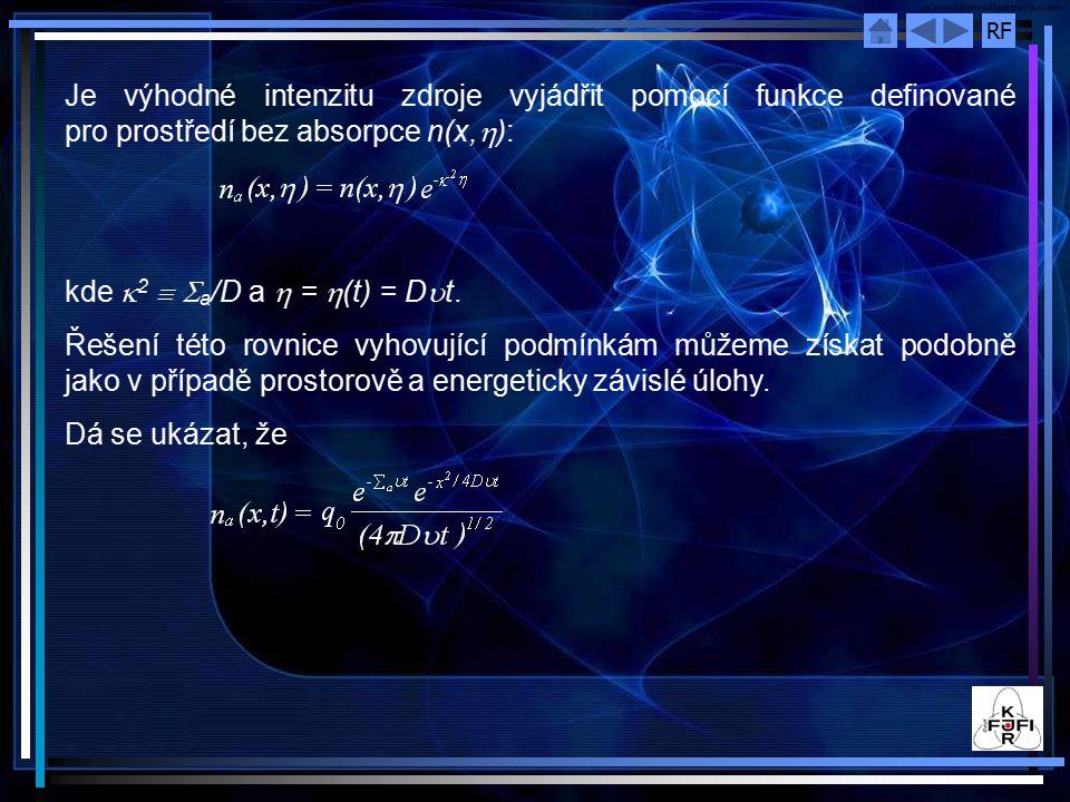 RF Je výhodné intenzitu zdroje vyjádřit pomocí funkce definované pro prostředí bez absorpce n(x,  ): kde  2   a /D a  =  (t) = D  t.