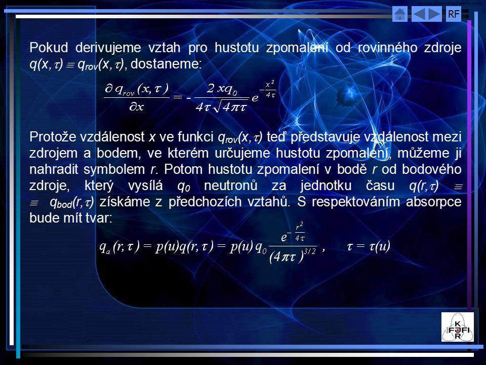 RF Pokud derivujeme vztah pro hustotu zpomalení od rovinného zdroje q(x,  )  q rov (x,  ), dostaneme: Protože vzdálenost x ve funkci q rov (x,  ) teď představuje vzdálenost mezi zdrojem a bodem, ve kterém určujeme hustotu zpomalení, můžeme ji nahradit symbolem r.