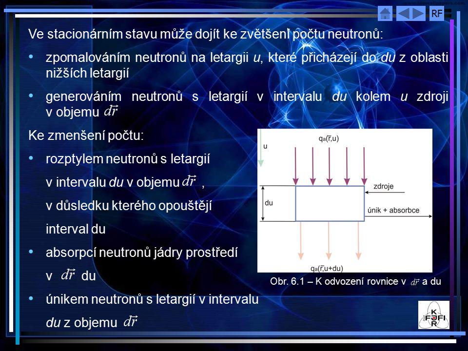 RF Vzhledem k uvedeným principům můžeme rovnici rovnováhy neutronů pro jednotkový časový interval napsat: - počet neutronů s letargií v intervalu du kolem u, které jsou emitovány zdroji v jednotkovém objemu v okolí bodu za jednotku času, - počet neutronů s letargií v intervalu du kolem u, které unikají z jednotkového objemu v okolí bodu za jednotku času Koeficientem úměrnosti bude opět difúzní koeficient, takže konečný výraz pro únikový člen můžeme zapsat ve tvaru: