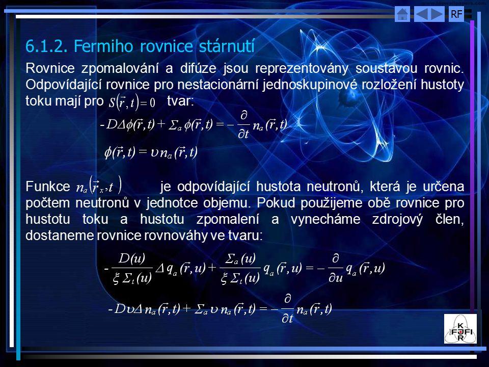 RF V případě, že bodový zdroj s vydatností q 0 bude umístěn v bodě, pak hustota zpomalení v bodě určeném polohovým vektorem bude dána výrazem: Funkce q bod (r,  ) (a podobně i q ro v (x,  )) má dvě důležité vlastnosti a to: pro libovolnou hodnotu stáří má hustota zpomalení maximum v místě zdroje, tj.
