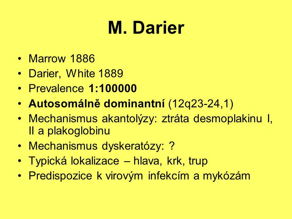 M. Darier Marrow 1886 Darier, White 1889 Prevalence 1:100000 Autosomálně dominantní (12q23-24,1) Mechanismus akantolýzy: ztráta desmoplakinu I, II a p