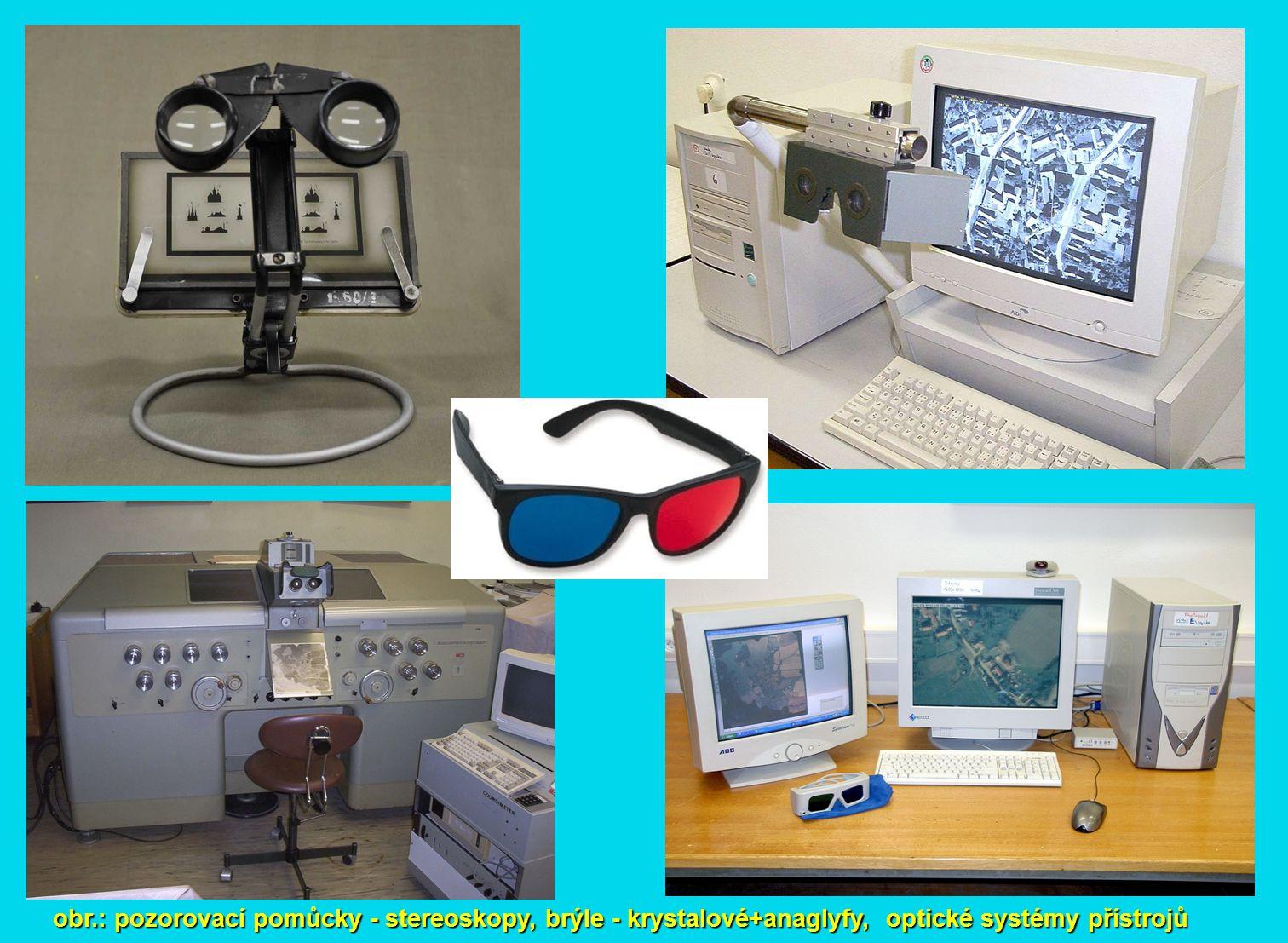 obr.: pozorovací pomůcky - stereoskopy, brýle - krystalové+anaglyfy, optické systémy přístrojů