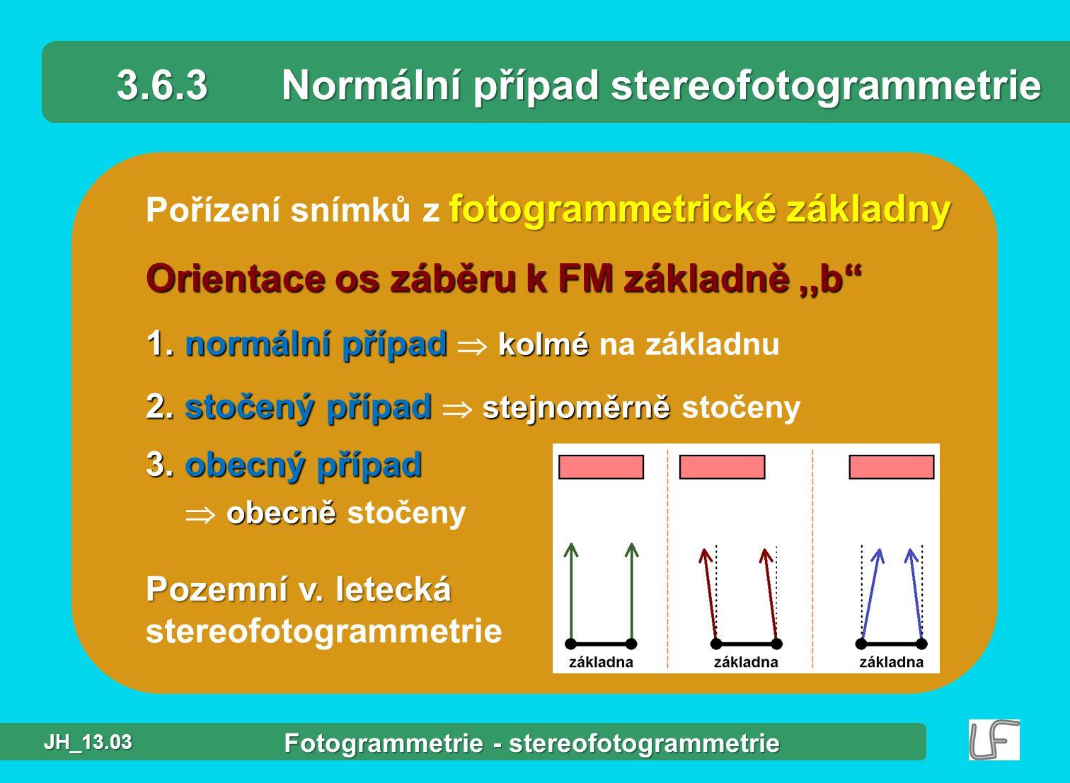 fotogrammetrické základny Pořízení snímků z fotogrammetrické základny 3.6.3Normální případ stereofotogrammetrie Orientace os záběru k FM základně,,b 1.