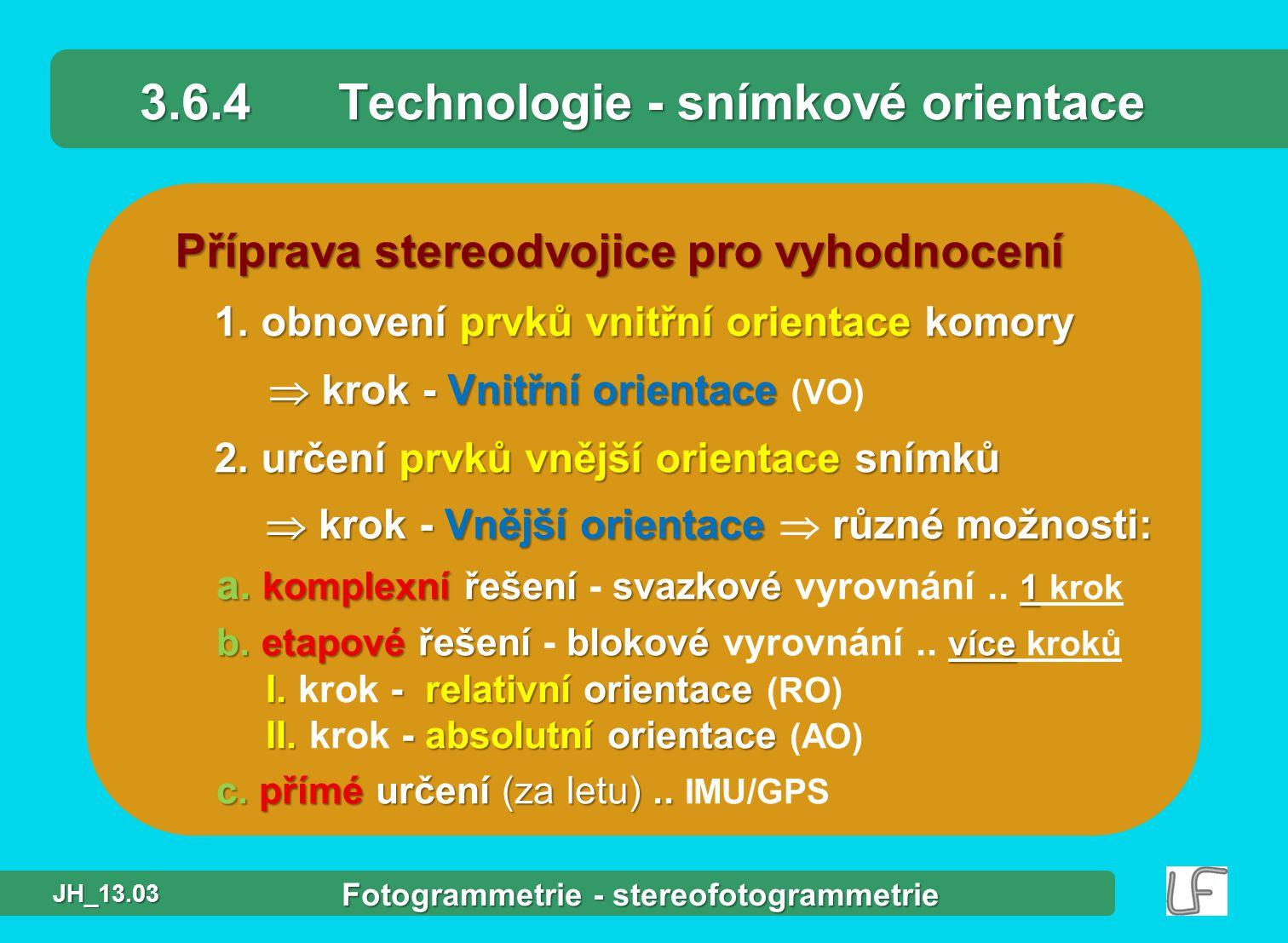 Příprava stereodvojice pro vyhodnocení 1.