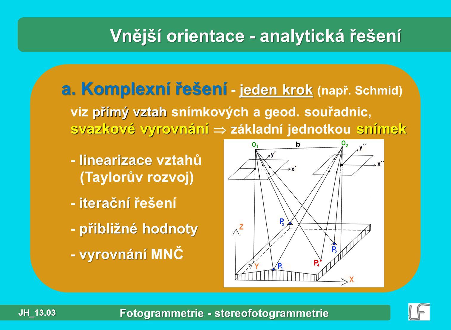 a.Komplexní řešení jeden krok a. Komplexní řešení - jeden krok (např.
