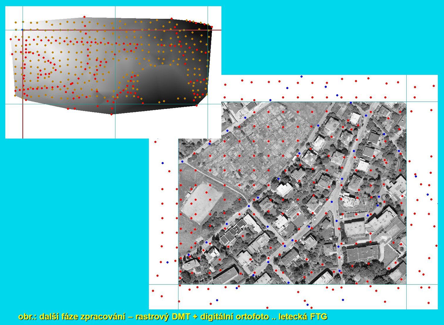 obr.: další fáze zpracování – rastrový DMT + digitální ortofoto.. letecká FTG