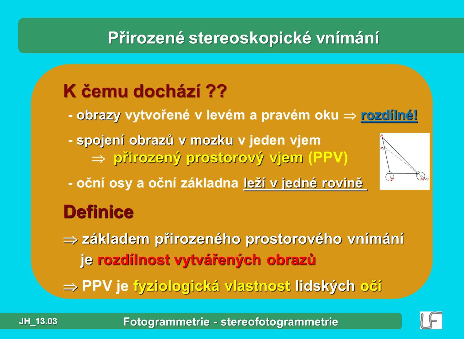 Fotogrammetrie a DPZ úvod Program přednášky,, Stereofotogrammetrie stereoskopie stereoskopie normální případ stereofotogrammetrie normální případ stereofotogrammetrie stereovyhodnocení stereovyhodnocení