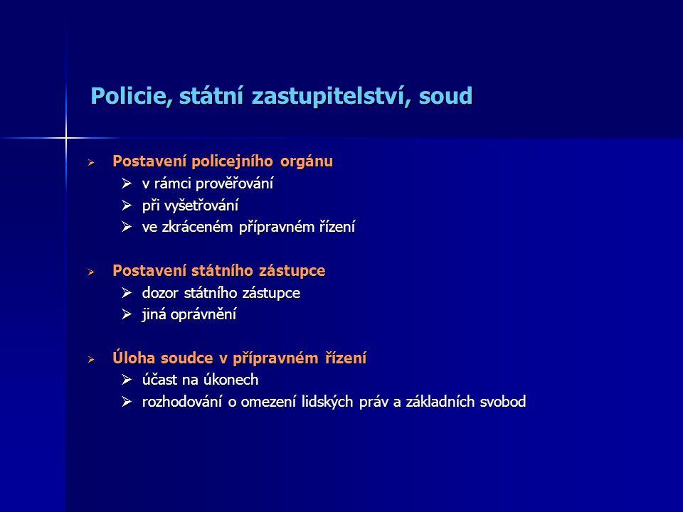 Policie, státní zastupitelství, soud Policie, státní zastupitelství, soud  Postavení policejního orgánu  v rámci prověřování  při vyšetřování  ve