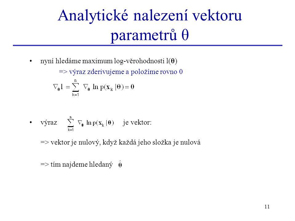 11 Analytické nalezení vektoru parametrů θ nyní hledáme maximum log-věrohodnosti l(θ) => výraz zderivujeme a položíme rovno 0 výraz je vektor: => vekt