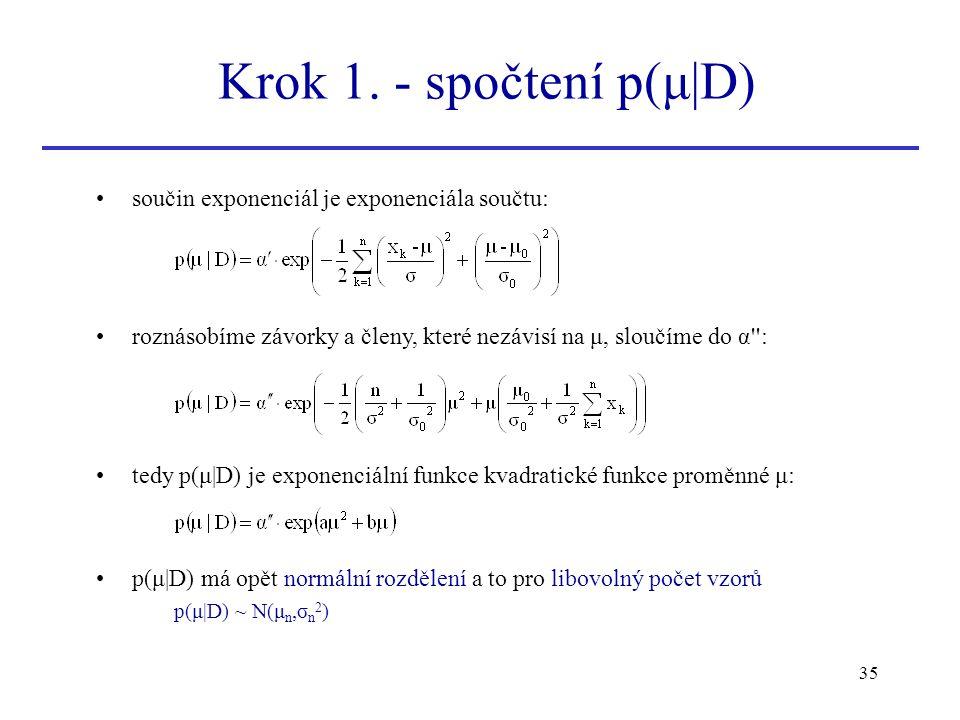 35 součin exponenciál je exponenciála součtu: roznásobíme závorky a členy, které nezávisí na μ, sloučíme do α'': tedy p(μ|D) je exponenciální funkce k