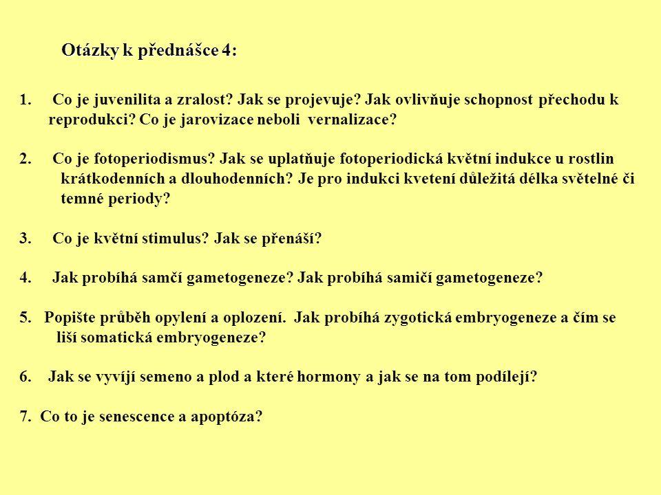 Otázky k přednášce 4: 1.Co je juvenilita a zralost.